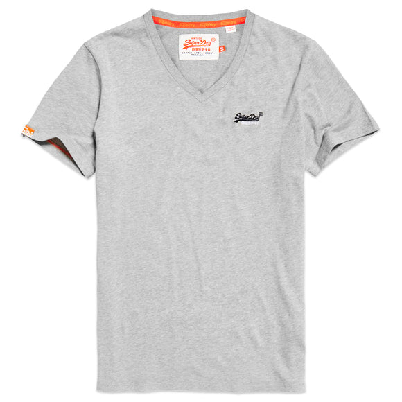 Superdry Orange Label Vintage Embroidery V-Neck T-Shirt - Grey Marl