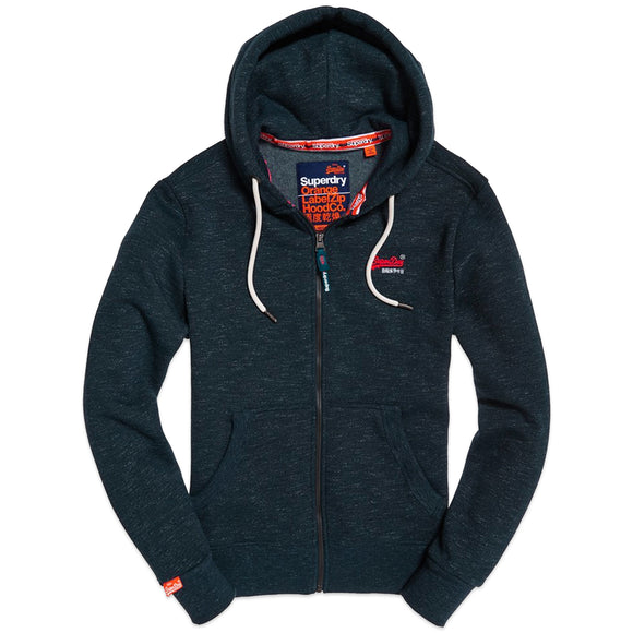 Superdry Orange Label Classic Zip Hood - Midnight Blue Feeder