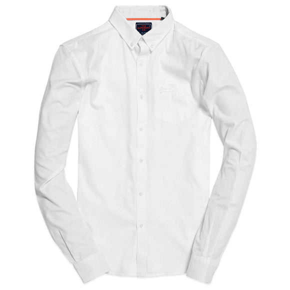 Superdry University Oxford Long Sleeve Shirt - Optic