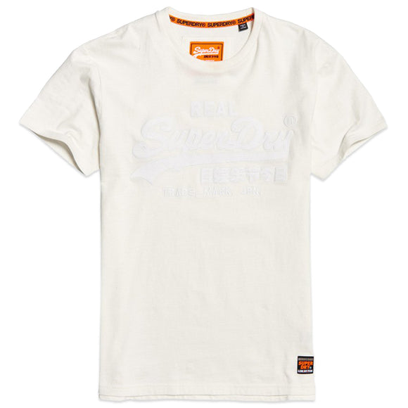 Superdry Vintage Logo Box Fit Applique T-Shirt - Off White