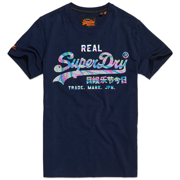 Superdry Vintage Logo Multi Colour T-Shirt - Gardena Navy