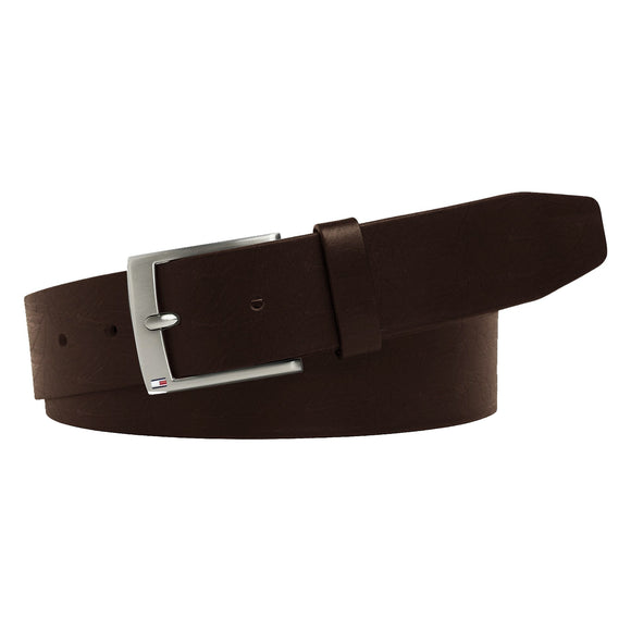 Tommy Hilfiger Flag Buckle Leather Belt - Brown