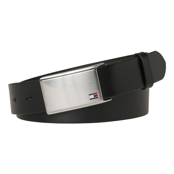 Tommy Hilfiger Adjustable Logo Plaque Belt - Black