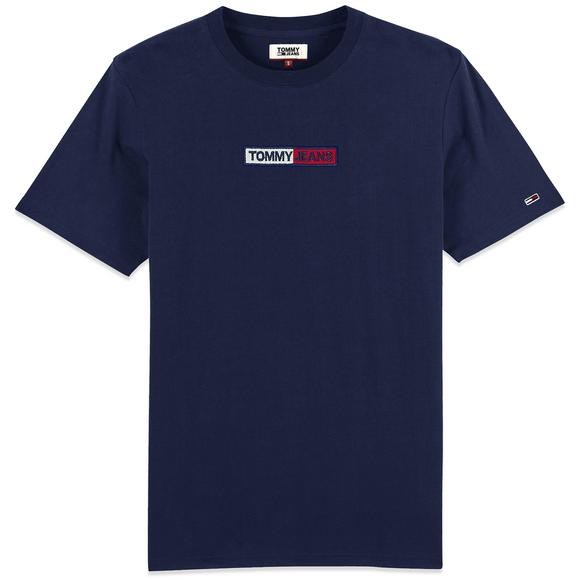 Tommy Jeans Embroidered Box Logo T-Shirt - Navy