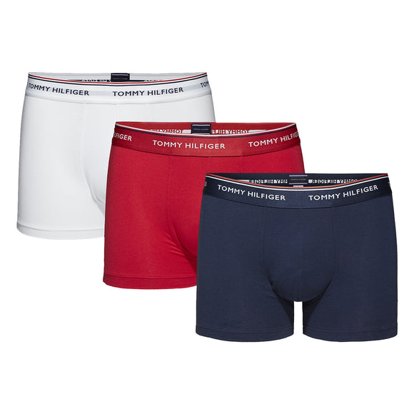Tommy Hilfiger Cotton Stretch Trunks - White/Red/Navy (3 Pack)