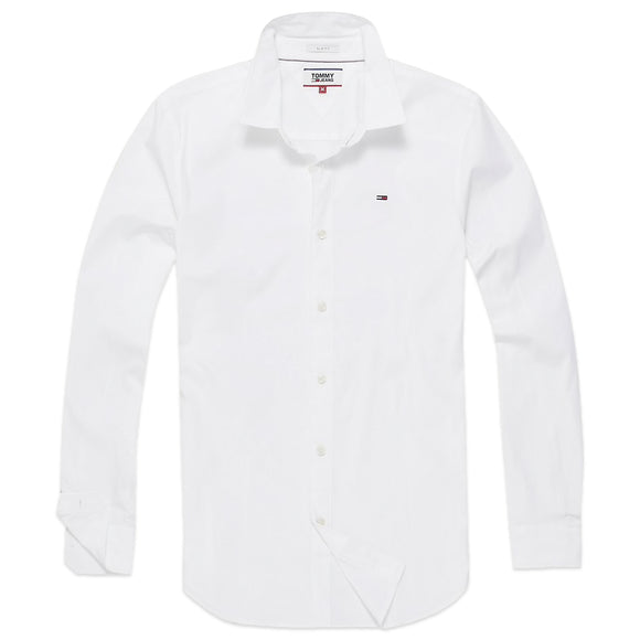 Tommy Hilfiger Original Flag Stretch Long Sleeve Shirt - White