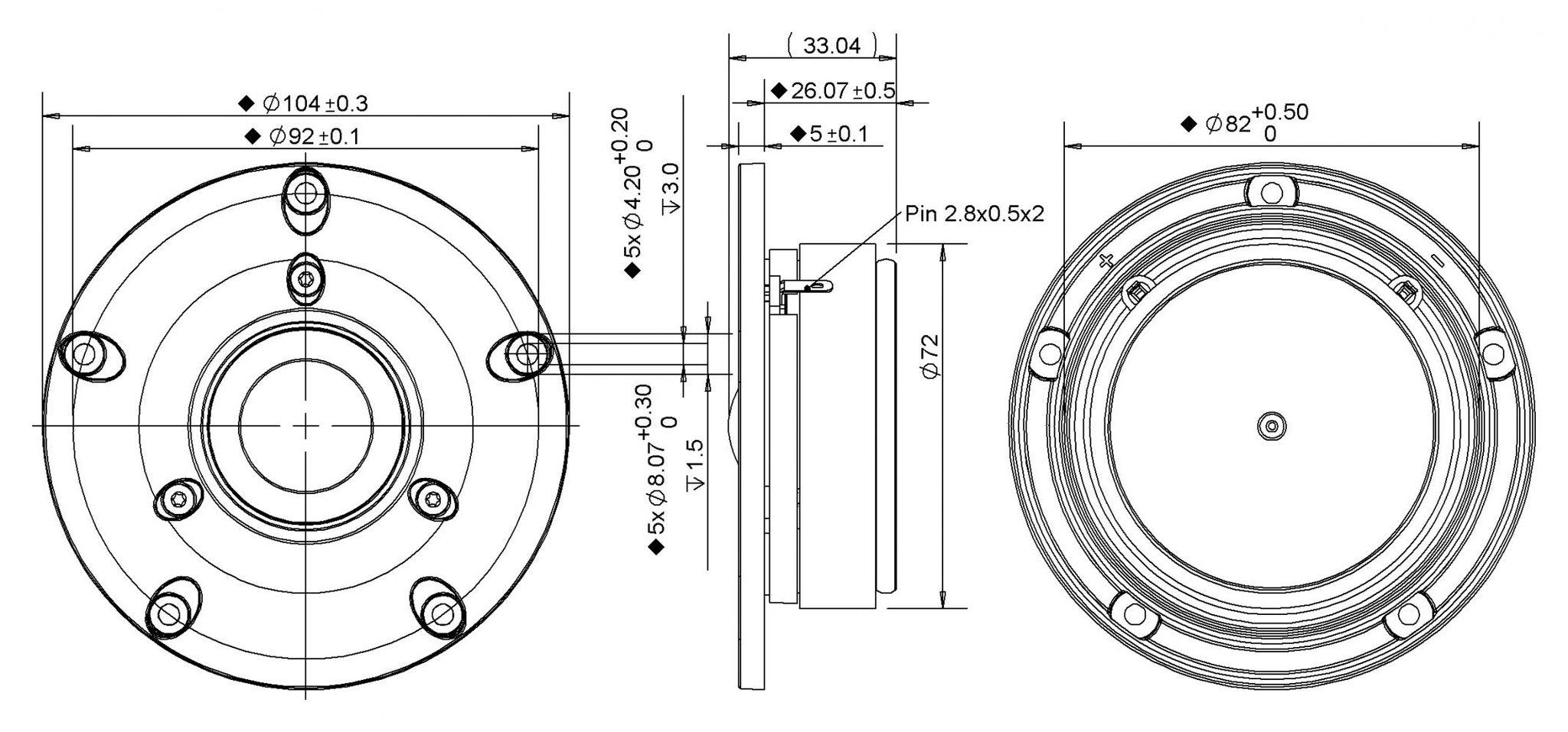 Peerless Dx25tg59 04 Tweeter Willys Hifi Ltd M Audio Bx5a Circuit Diagram Dimensions