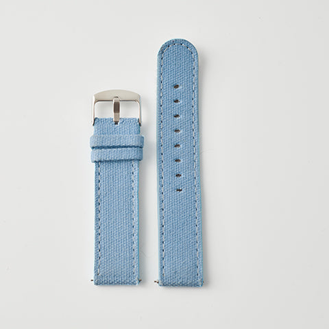 Blue Pale Canvas/Leather Strap