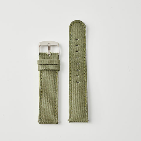 Kaki Canvas/Leather Strap