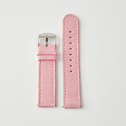 Pink Pale Canvas/Leather Strap