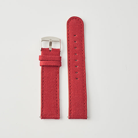 Red Canvas/Leather Strap