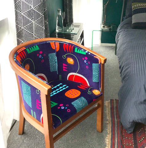 chair in bright fabric design