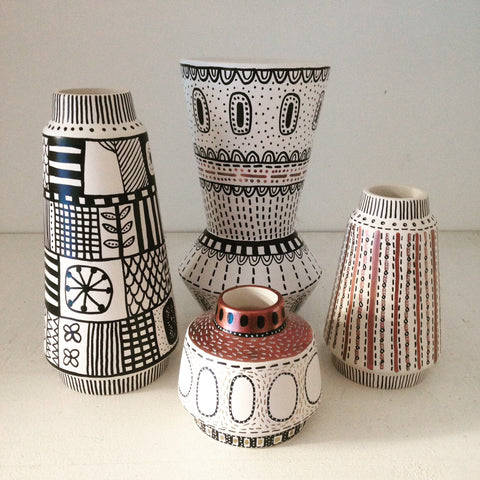 Hand decorated vases