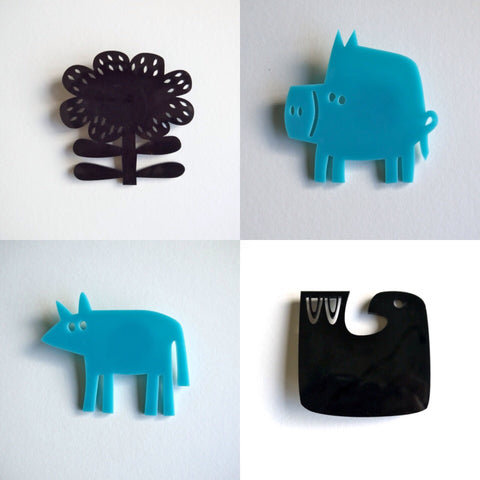perspex brooches
