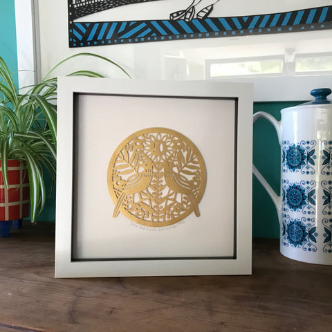Framed Personalised Golden Anniversary Paper Cut