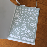 NEW 25th Silver Wedding Paper Cut