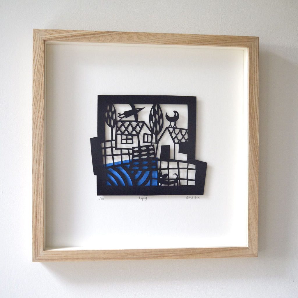 Flying Papercut framed