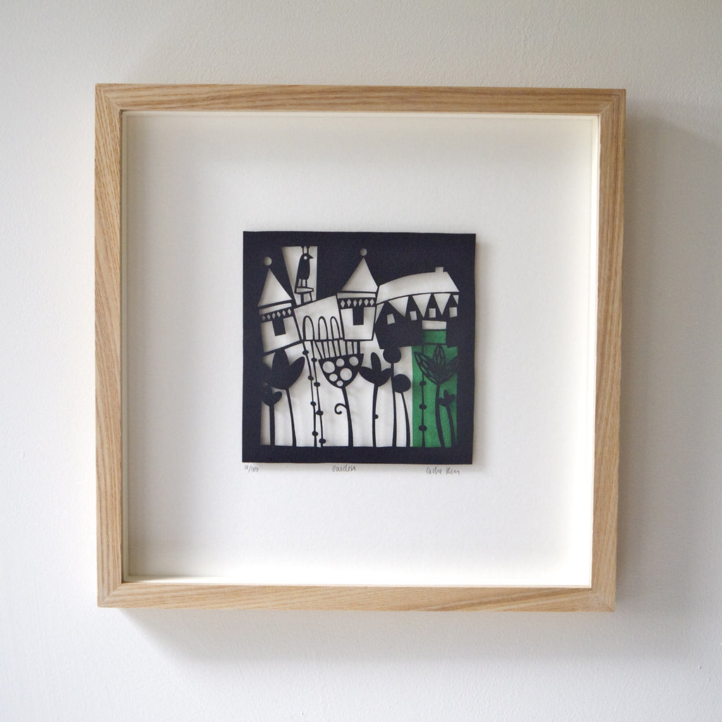 Garden papercut framed