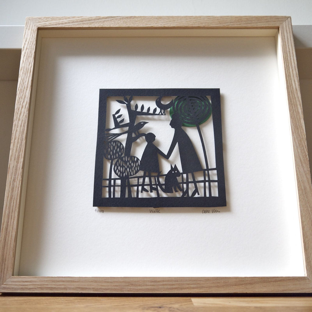Walk Papercut framed