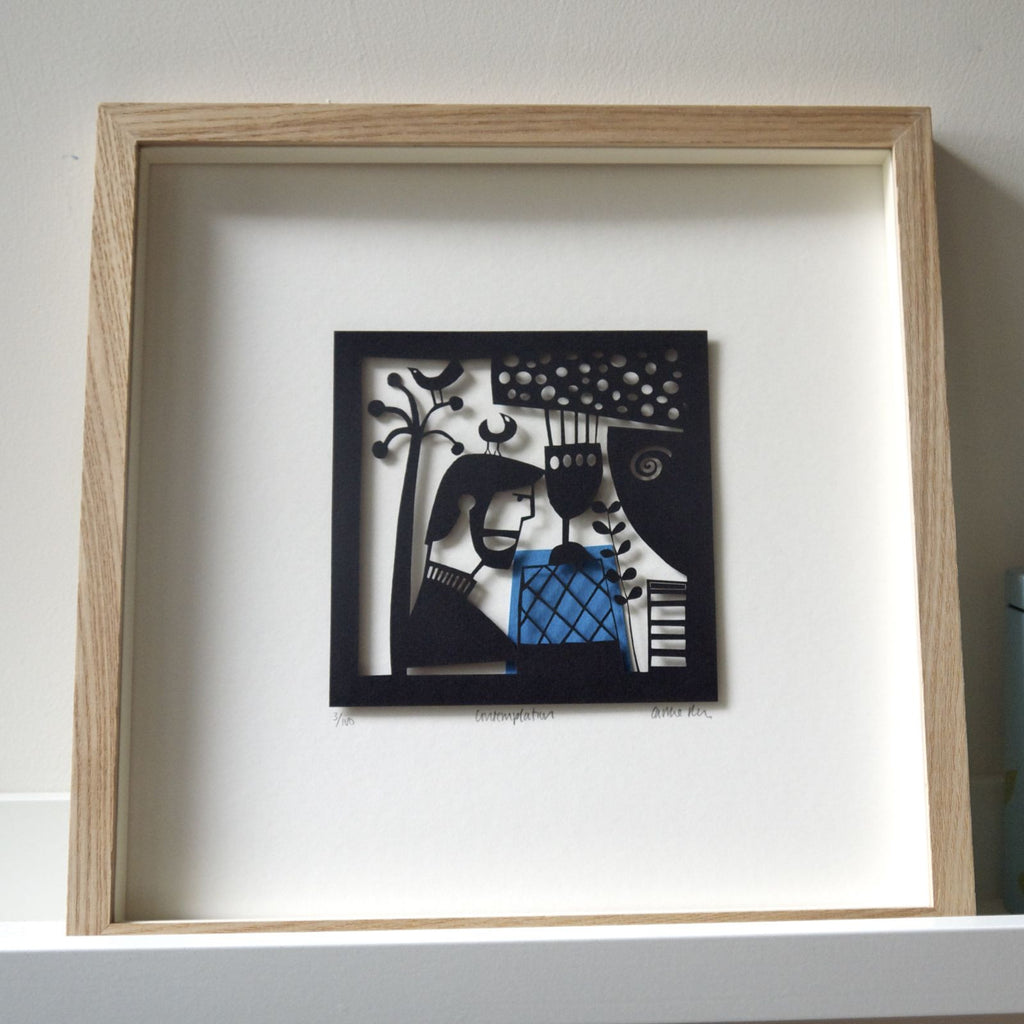 Contemplation papercut framed