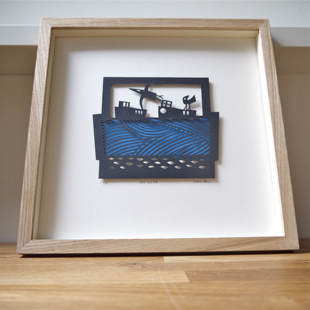 Over the Sea papercut framed