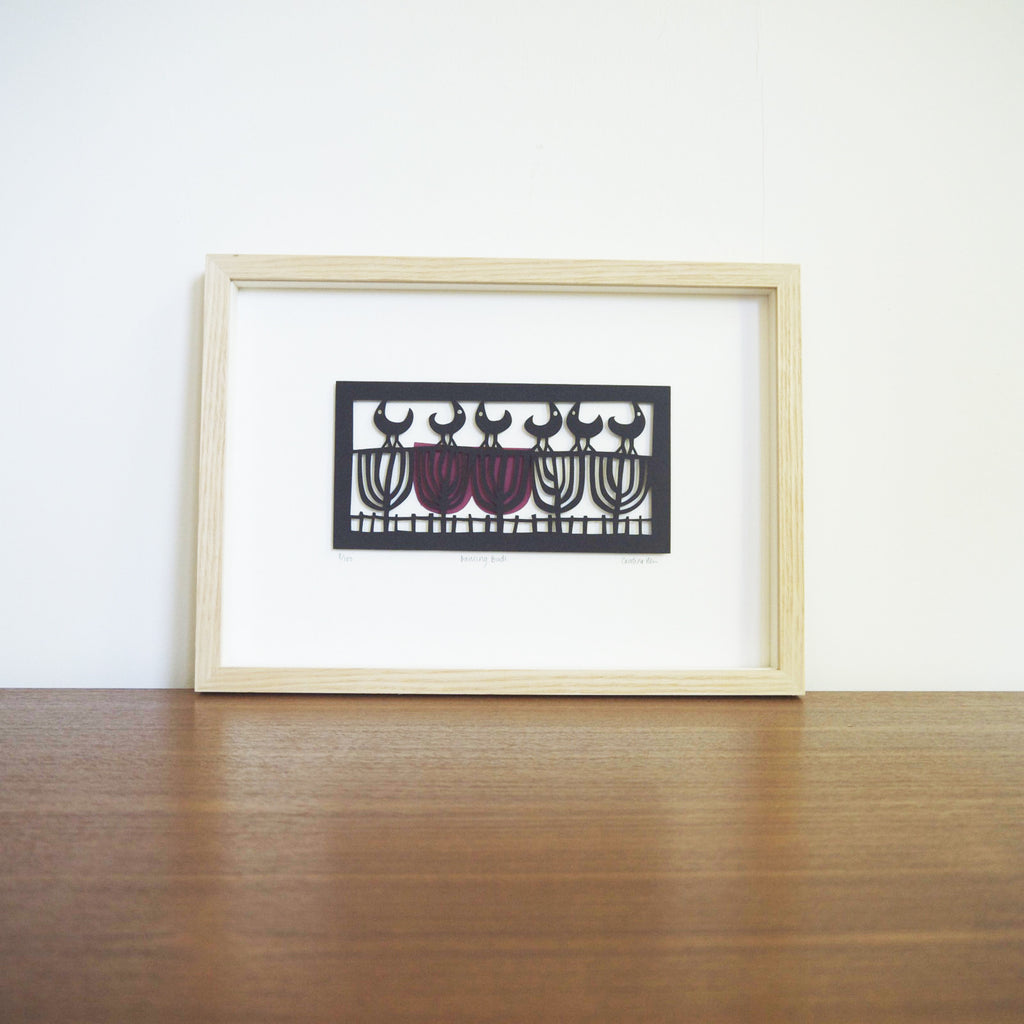 Dancing Birds papercut framed