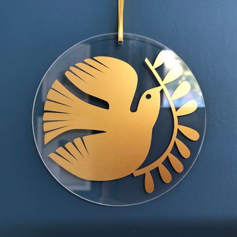 Bird with Leaves Glass Hanging FREE UK DELIVERY