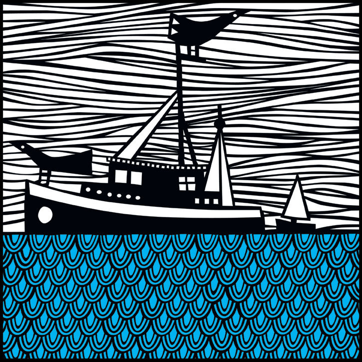Fishing Paper Cut Print