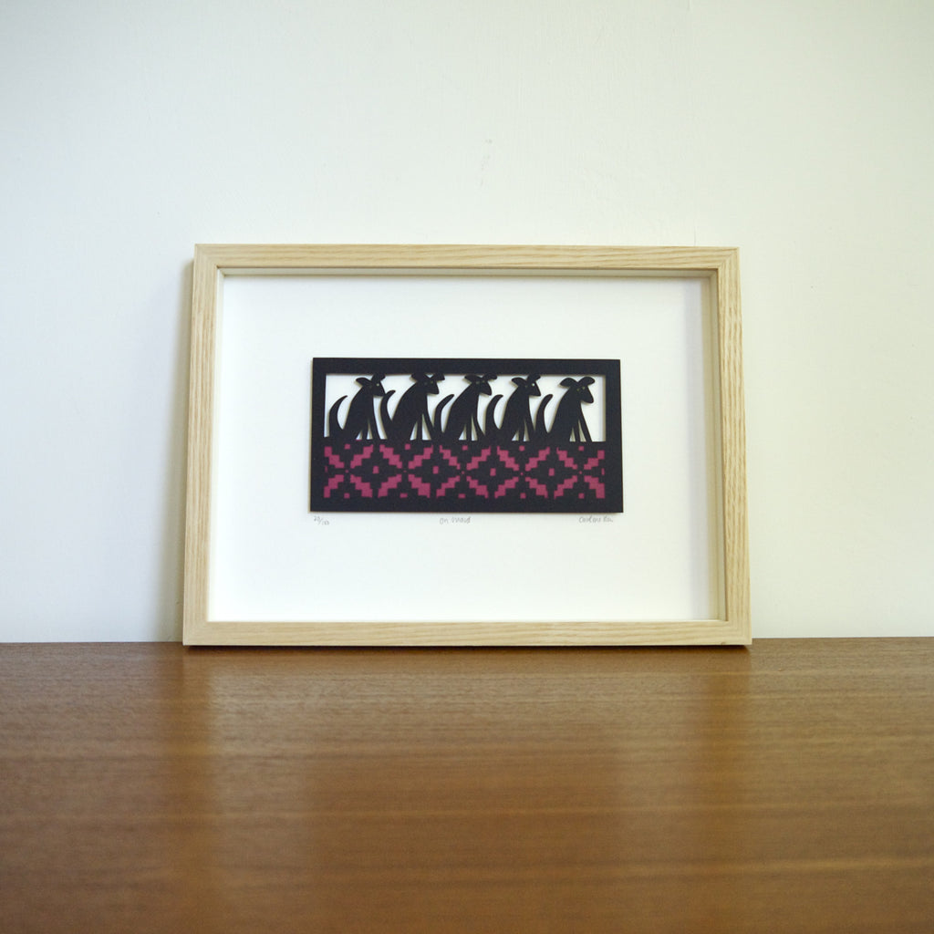 On Guard papercut framed