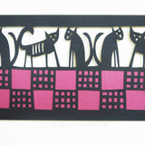 Five cats on a welsh blanket papercut