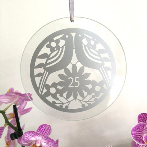 25th Anniversary Glass Hanging Decoration FREE UK DELIVERY