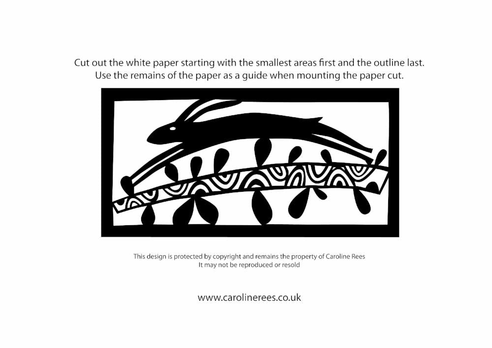 Leaping Hare Paper Cutting Template
