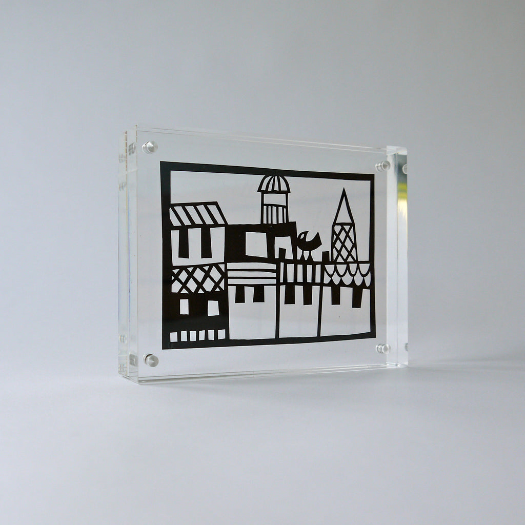 Paper cut in contemporary perspex frame