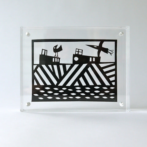 Boats Papercut in Perspex