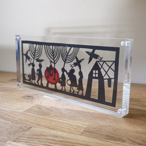 Party Papercut in Perspex