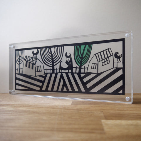 On the Fence Papercut in Perspex