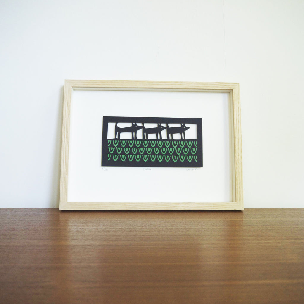 Procession papercut framed