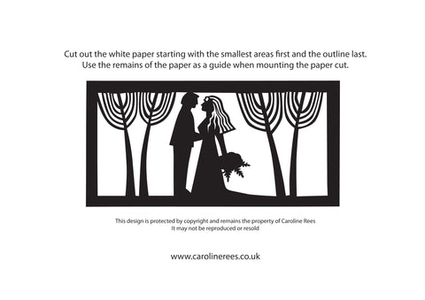 Bride and Groom Paper Cutting Template