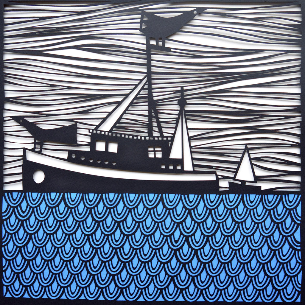 Fishing Paper Cut by Caroline Rees