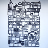 Houses on the Hill Large Unframed Papercut