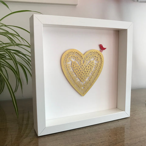 Personalised Paper Cut Gold Heart
