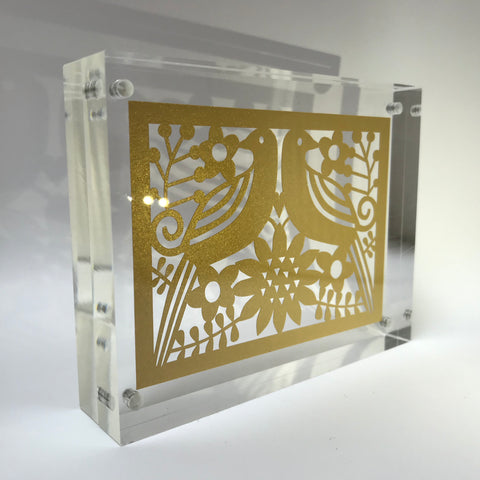 Golden Anniversary Paper Cut Block