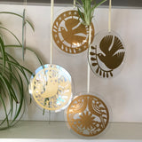 Circular Bird Glass Hanging Decoration FREE UK DELIVERY