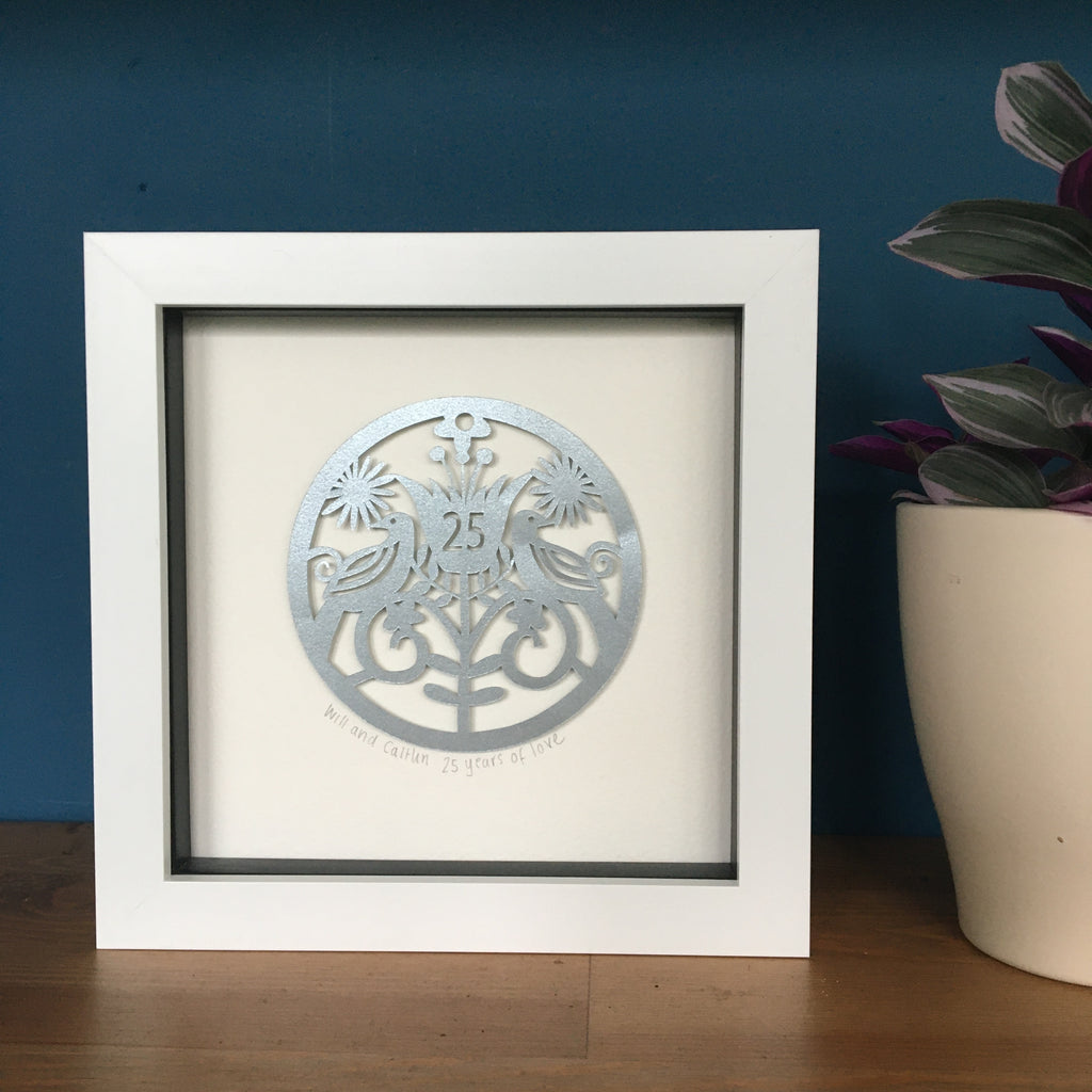 Personalised Silver Anniversary Framed Paper Cut