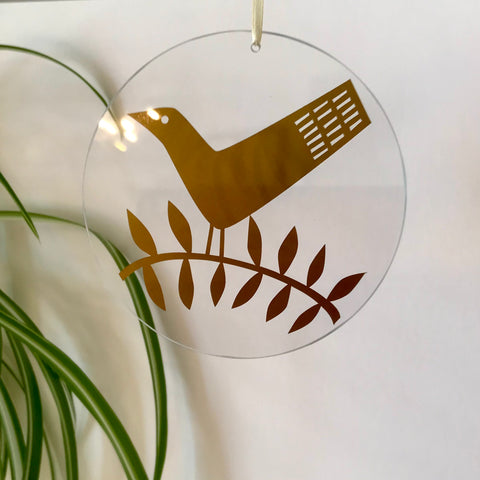 Bird on Branch Glass Hanging FREE UK DELIVERY