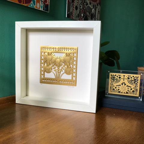 Personalised Golden Flowers Anniversary Paper Cut