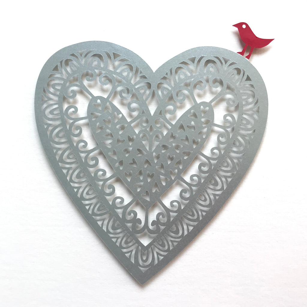 Personalised Silver Paper Cut Heart