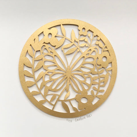 Golden Butterfly Paper Cut