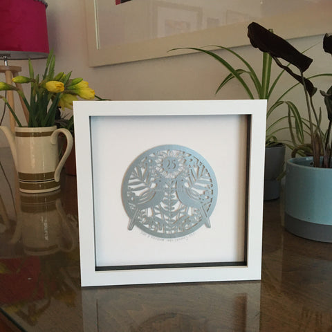Personalised Silver Anniversary Paper Cut