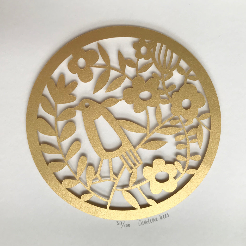 Gold Bird Paper Cut